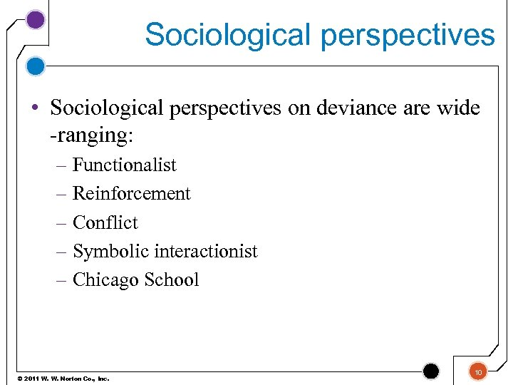 Sociological perspectives • Sociological perspectives on deviance are wide -ranging: – Functionalist – Reinforcement