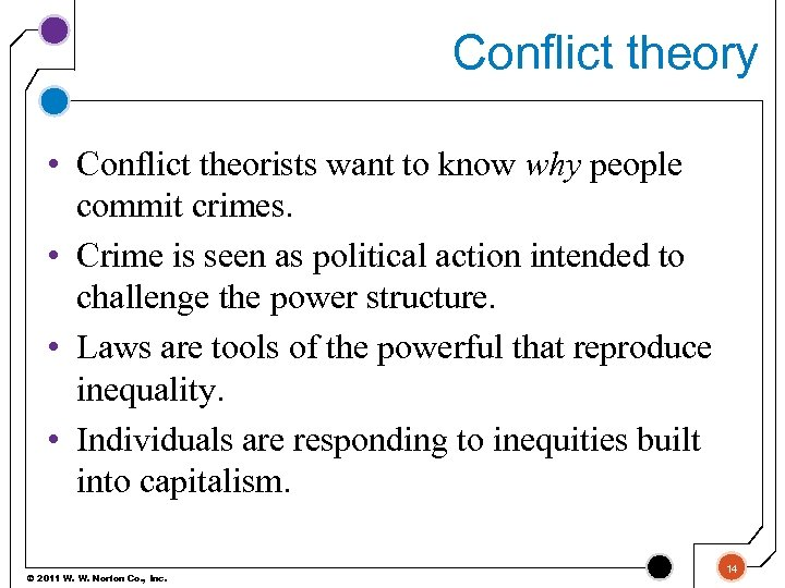 Conflict theory • Conflict theorists want to know why people commit crimes. • Crime