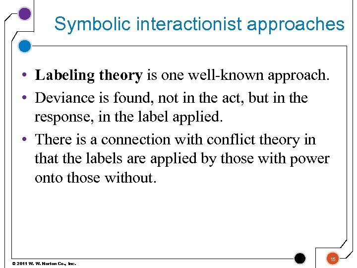 Symbolic interactionist approaches • Labeling theory is one well-known approach. • Deviance is found,