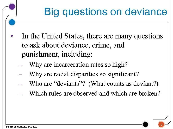 Big questions on deviance • In the United States, there are many questions to