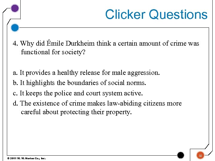 Clicker Questions 4. Why did Émile Durkheim think a certain amount of crime was