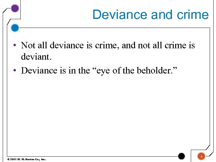 Deviance and crime • Not all deviance is crime, and not all crime is