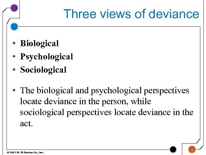 Three views of deviance • Biological • Psychological • Sociological • The biological and