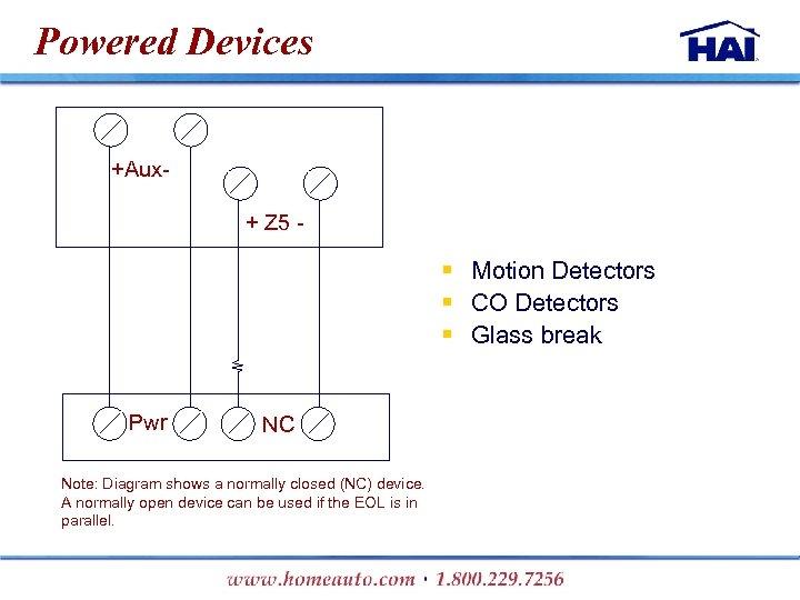 Powered Devices +Aux+ Z 5 - § Motion Detectors § CO Detectors § Glass