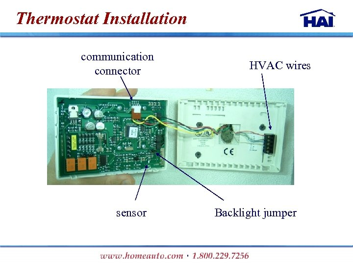 Thermostat Installation communication connector sensor HVAC wires Backlight jumper