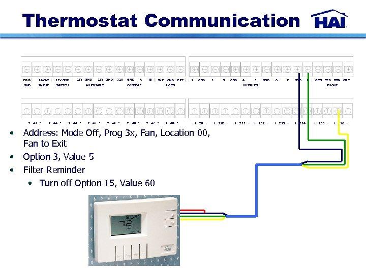 Thermostat Communication Earth 24 VAC 12 V GND INPUT + Z 1 - •