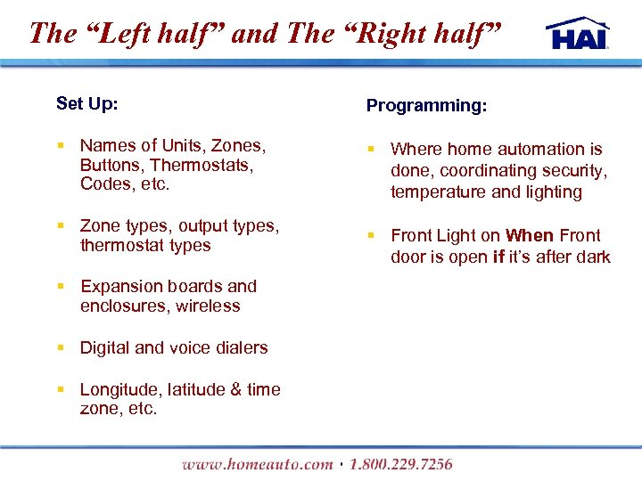 """The """"Left half"""" and The """"Right half"""" Set Up: Programming: § Names of Units,"""
