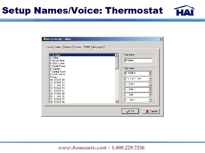 Setup Names/Voice: Thermostat