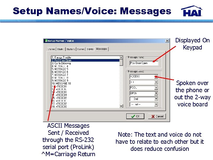 Setup Names/Voice: Messages Displayed On Keypad Spoken over the phone or out the 2
