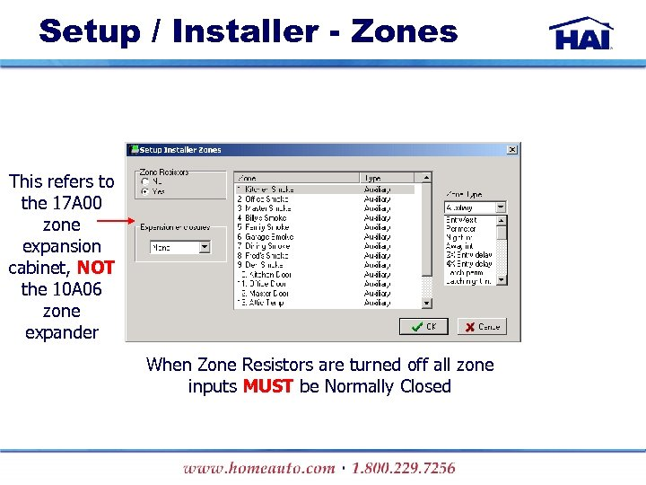 Setup / Installer - Zones This refers to the 17 A 00 zone expansion