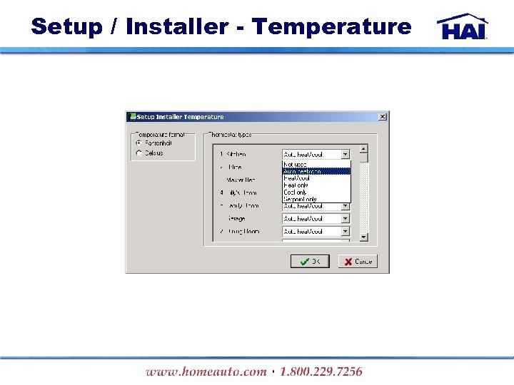 Setup / Installer - Temperature