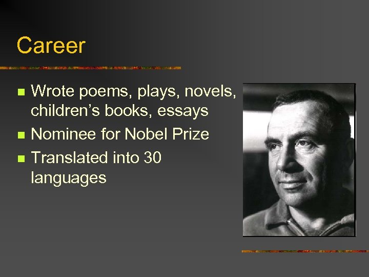 Career n n n Wrote poems, plays, novels, children's books, essays Nominee for Nobel
