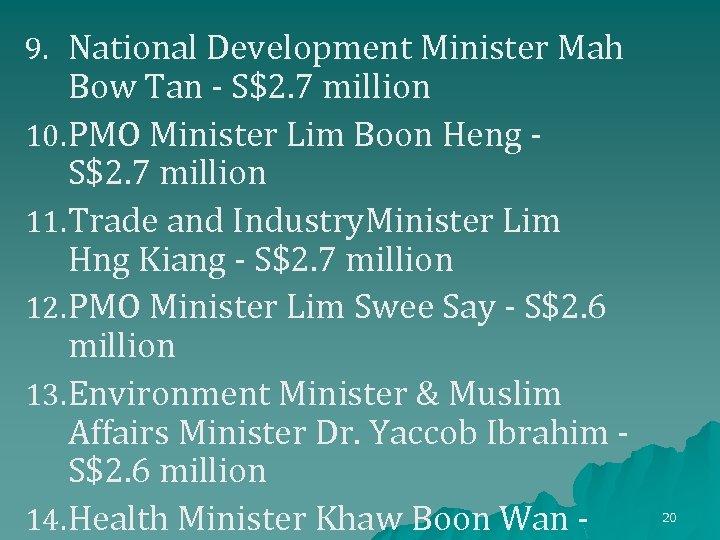 9. National Development Minister Mah Bow Tan - S$2. 7 million 10. PMO Minister