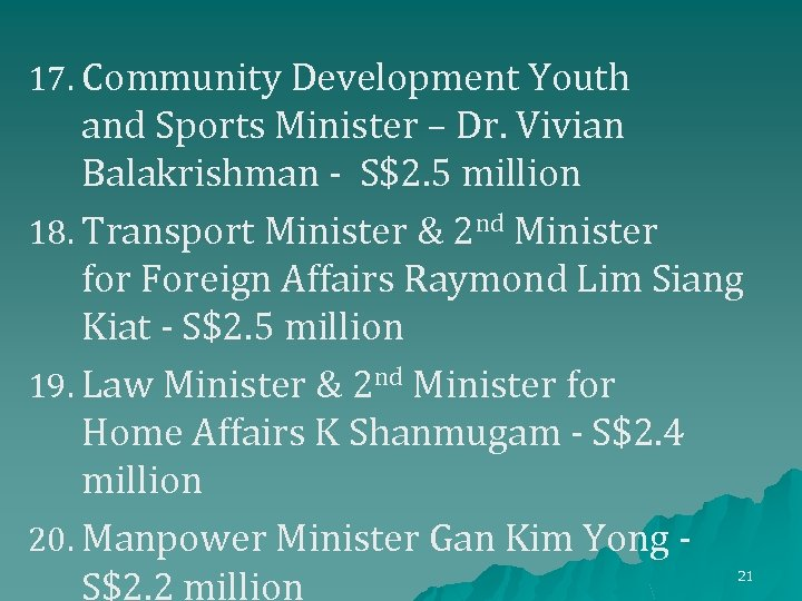 17. Community Development Youth and Sports Minister – Dr. Vivian Balakrishman - S$2. 5