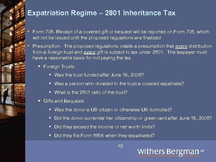 Expatriation Regime – 2801 Inheritance Tax § Form 708 - Receipt of a covered