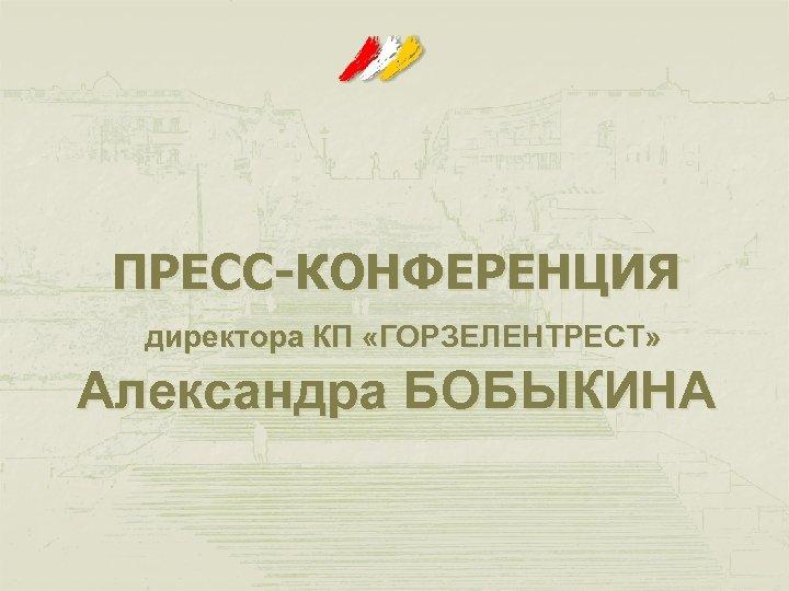 ПРЕСС-КОНФЕРЕНЦИЯ директора КП «ГОРЗЕЛЕНТРЕСТ» Александра БОБЫКИНА