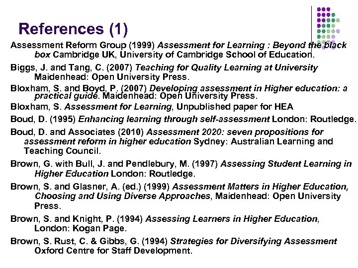 References (1) Assessment Reform Group (1999) Assessment for Learning : Beyond the black box