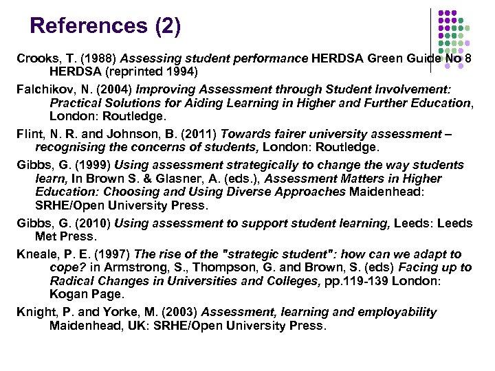 References (2) Crooks, T. (1988) Assessing student performance HERDSA Green Guide No 8 HERDSA