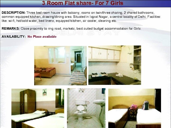 3 Room Flat share- For 7 Girls DESCRIPTION: Three bed room house with balcony,