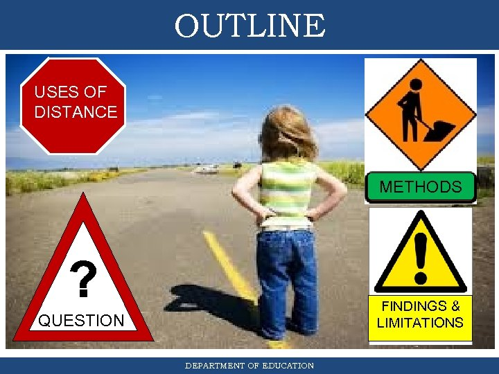 OUTLINE USES OF DISTANCE METHODS FINDINGS & LIMITATIONS QUESTION DEPARTMENT OF EDUCATION