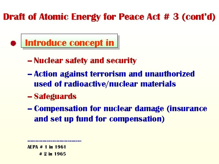 Draft of Atomic Energy for Peace Act # 3 (cont'd) Introduce concept in –
