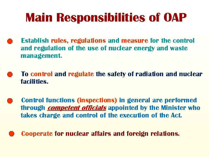 Main Responsibilities of OAP Establish rules, regulations and measure for the control and regulation