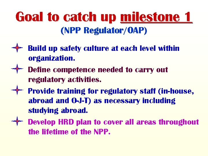 Goal to catch up milestone 1 (NPP Regulator/OAP) Build up safety culture at each