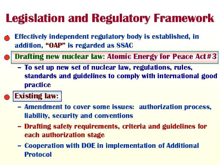 """Legislation and Regulatory Framework • Effectively independent regulatory body is established, in addition, """"OAP"""""""
