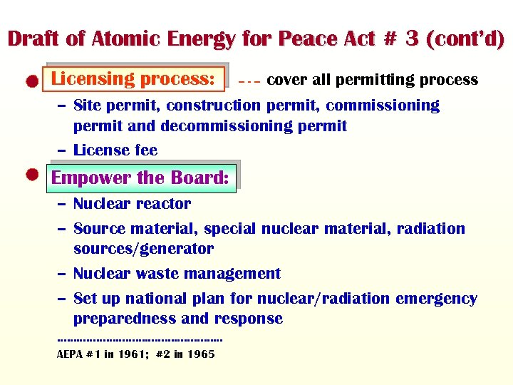 Draft of Atomic Energy for Peace Act # 3 (cont'd) • Licensing process: cover