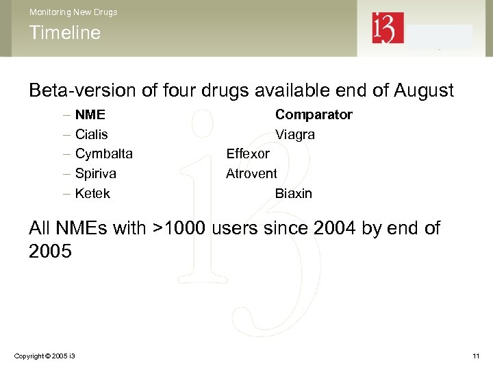 Monitoring New Drugs Timeline Beta-version of four drugs available end of August – –
