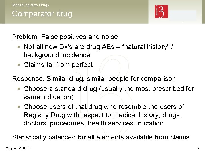 Monitoring New Drugs Comparator drug Problem: False positives and noise § Not all new