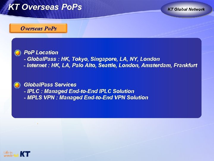 KT Overseas Po. Ps KT as Global Carrier Global Network Overseas Po. P Location