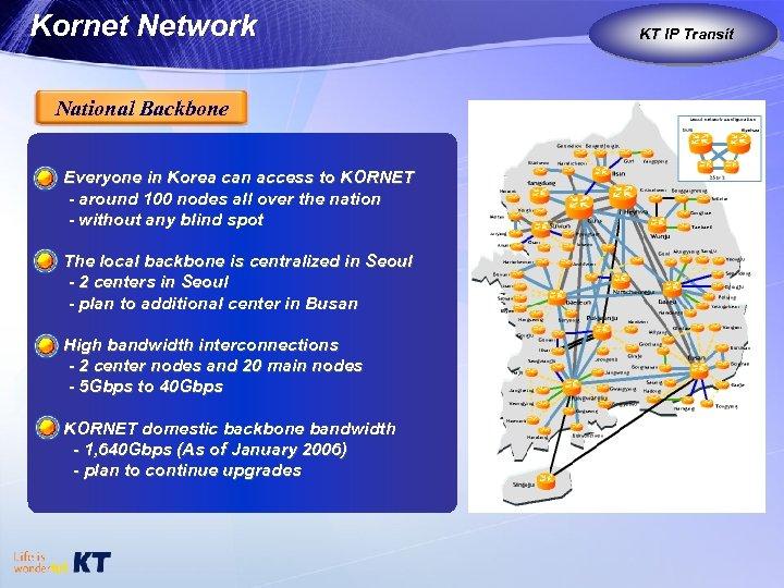 Kornet Network National Backbone Everyone in Korea can access to KORNET - around 100