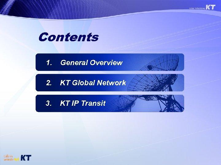 Contents 1. General Overview 2. KT Global Network 3. KT IP Transit