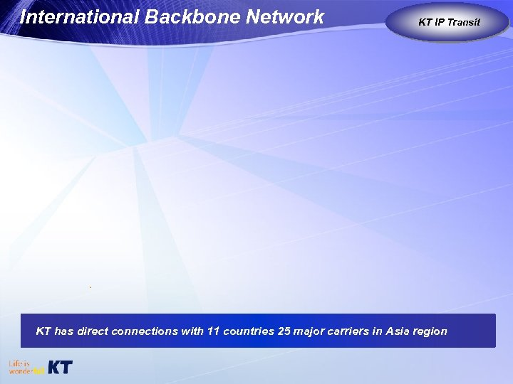 International Backbone Network KT IP Transit KT as Global Carrier KT has direct connections