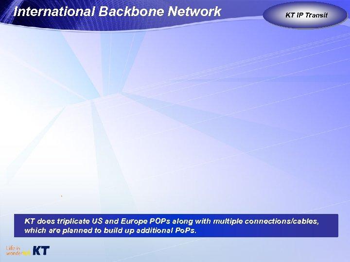 International Backbone Network KT IP Transit KT as Global Carrier KT does triplicate US