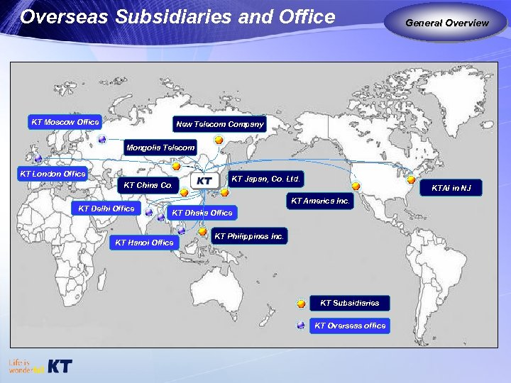 Overseas Subsidiaries and Office KT Moscow Office General Overview New Telecom Company Mongolia Telecom