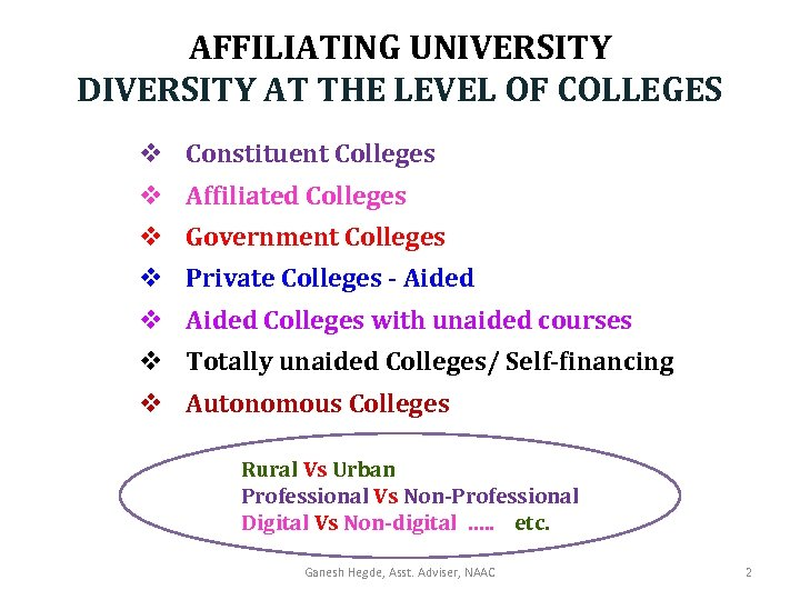 AFFILIATING UNIVERSITY DIVERSITY AT THE LEVEL OF COLLEGES v Constituent Colleges v Affiliated Colleges