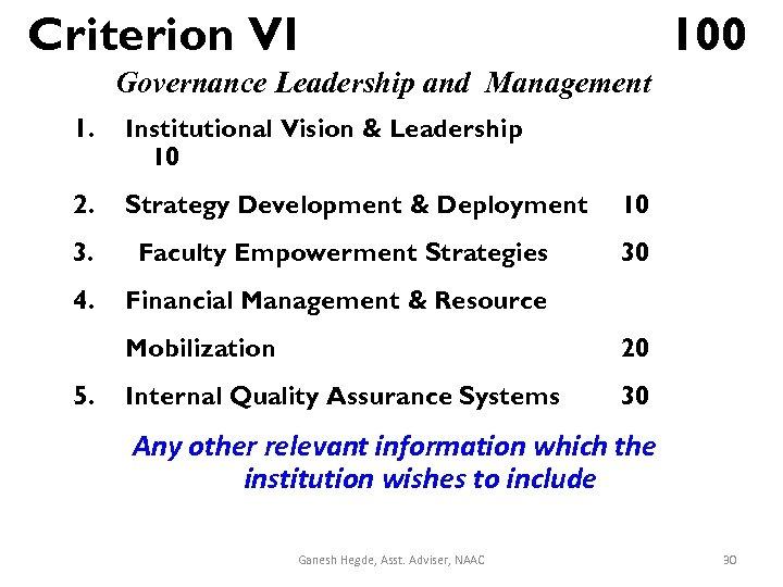 Criterion VI 100 Governance Leadership and Management 1. Institutional Vision & Leadership 10 2.