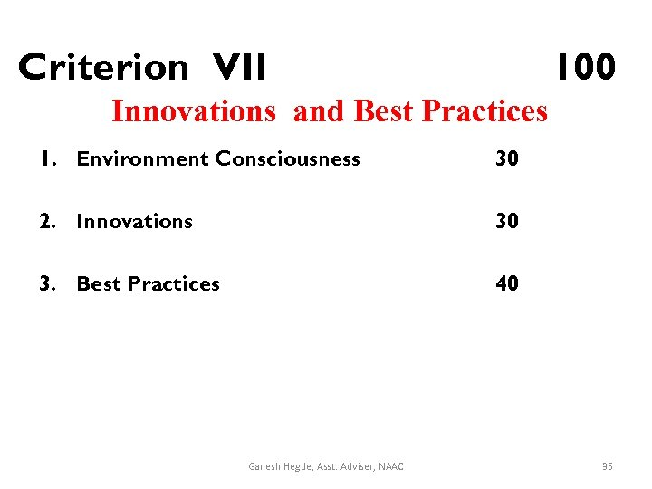 Criterion VII 100 Innovations and Best Practices 1. Environment Consciousness 30 2. Innovations 30