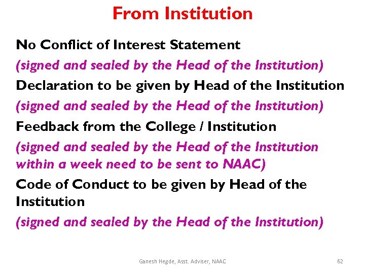 From Institution No Conflict of Interest Statement (signed and sealed by the Head of