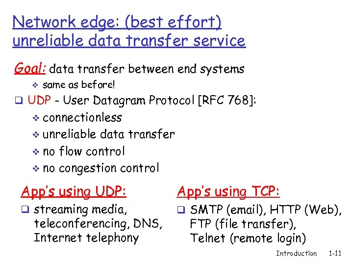 Network edge: (best effort) unreliable data transfer service Goal: data transfer between end systems