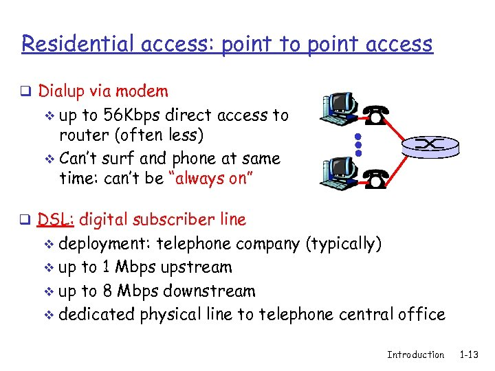 Residential access: point to point access q Dialup via modem up to 56 Kbps