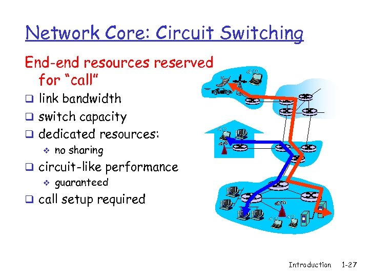 """Network Core: Circuit Switching End-end resources reserved for """"call"""" q link bandwidth q switch"""