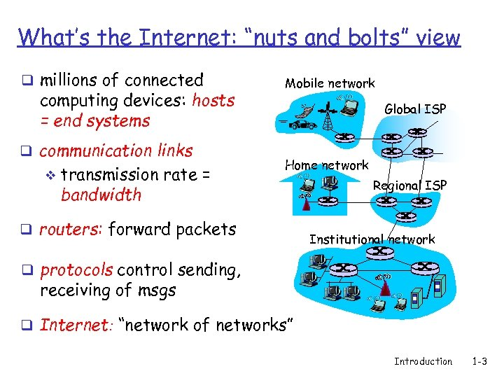 """What's the Internet: """"nuts and bolts"""" view q millions of connected computing devices: hosts"""