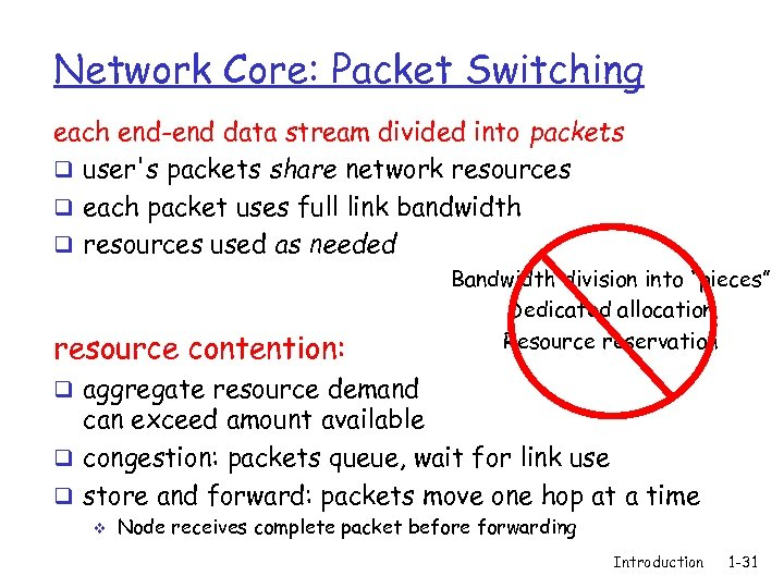 Network Core: Packet Switching each end-end data stream divided into packets q user's packets