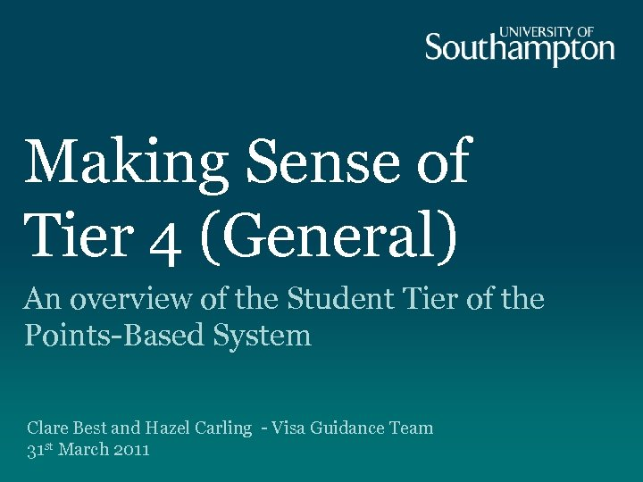 Making Sense of Tier 4 (General) An overview of the Student Tier of the