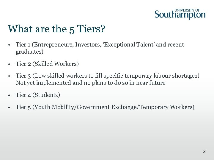 What are the 5 Tiers? • Tier 1 (Entrepreneurs, Investors, 'Exceptional Talent' and recent