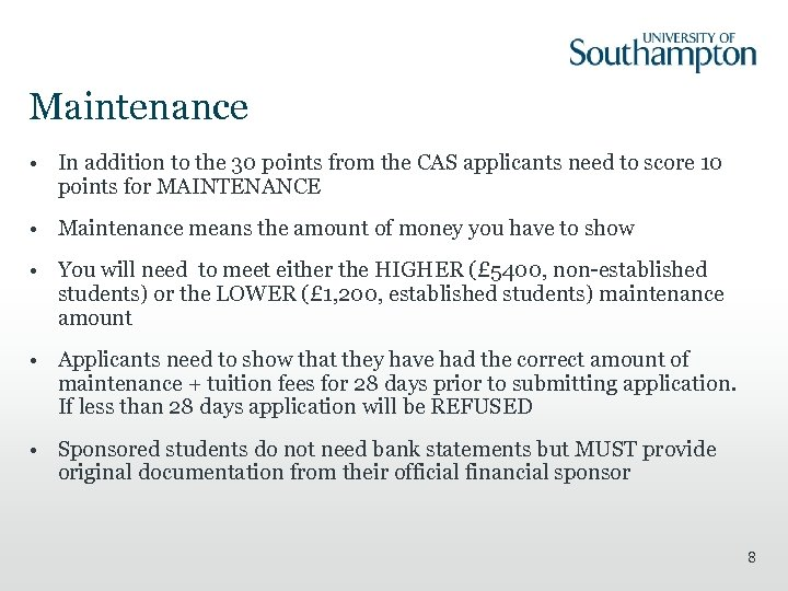 Maintenance • In addition to the 30 points from the CAS applicants need to