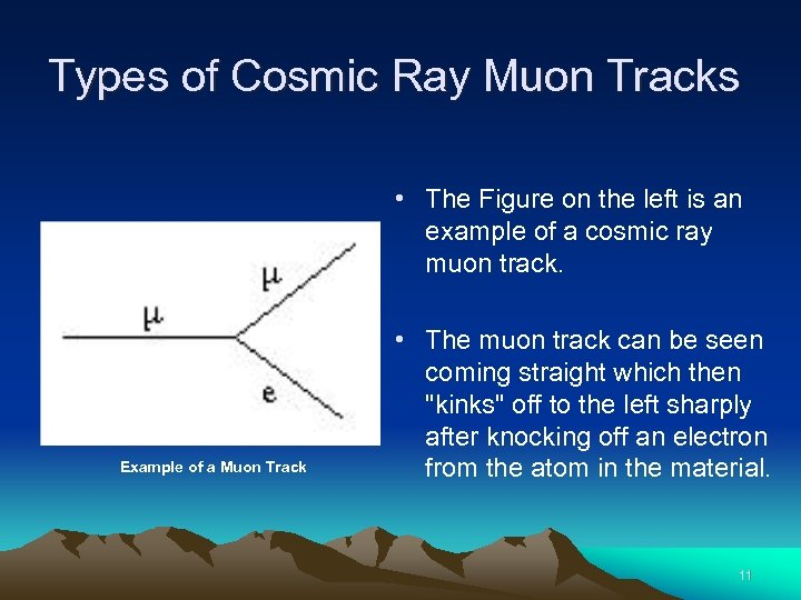 Types of Cosmic Ray Muon Tracks • The Figure on the left is an